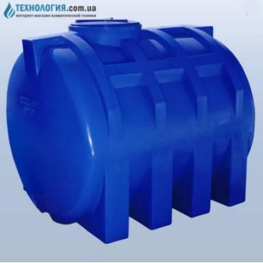 Емкость объемом 2000 литров усиленная с ребром двухслойная в горизонтальном исполнении