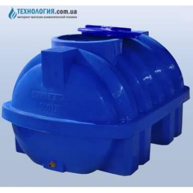 Емкость объемом 500 литров усиленная с ребром двухслойная в горизонтальном исполнении