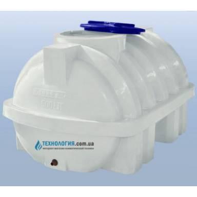 Емкость объемом 500 литров усиленная с ребром однослойная в горизонтальном исполнении