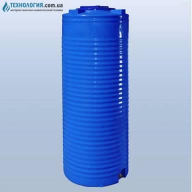 Емкость объемом 500 литров узкая двухслойная в вертикальном исполнении