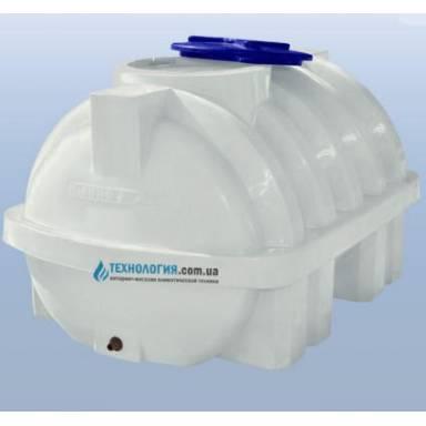 Емкость объемом 750 литров усиленная с ребром однослойная в горизонтальном исполнении