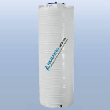 Емкость объемом 1000 литров узкая однослойная в вертикальном исполнении