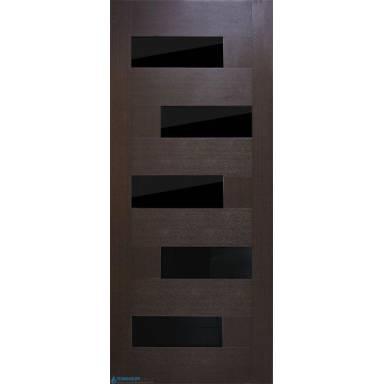 Межкомнатная дверь Домино ПВХ полотно с черным стеклом
