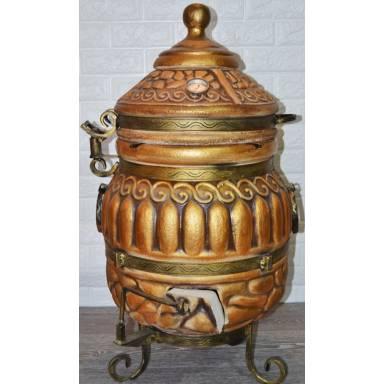 Тандыр Классик Премиум емость 65 литров с полочками и кованной обвязкой