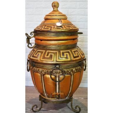 Тандыр Античный Премиум емость 65 литров с полочками и кованной обвязкой