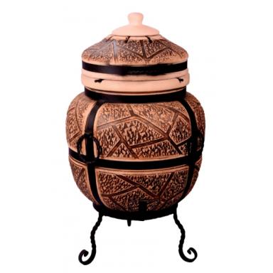 """Тандыр """"дикий камень"""" объем 75 литров с решеткой лопаткой и кочергой в комплекте"""