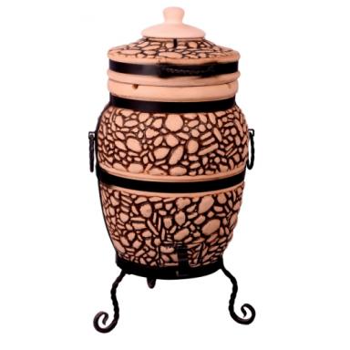 """Печь тандыр """"дизайн """"Булыжник"""" 50 литров с решеткой лопаткой и кочергой в комплекте"""