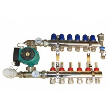 Система коллекторная с 1 воздухоотводом Gross хром - х2 с 2 выходами