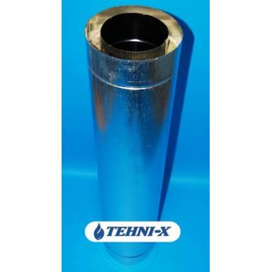 Дымоходная утеплённая труба для дымохода длинной 1 м, диамтером  110/170 мм, внутренняя нержавейка 0,5 мм марка стали 430Т, внешняя оцинковка