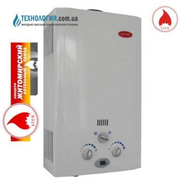 Дымоходный газовый проточный водонагреватель Житомир ВПГ-16 с дисплеем,атмосферная,авторозжиг от батареек,жк дисплей, производительность 8 литров в минуту