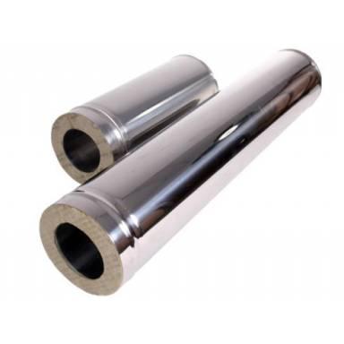 утеплённая труба для дымохода длинной 1 м, диамтером Ø 135/195мм толщина нерж. 0,8 мм. марка 403Т  (Внутренняя - нержавейка, внешняя - оцинковка)